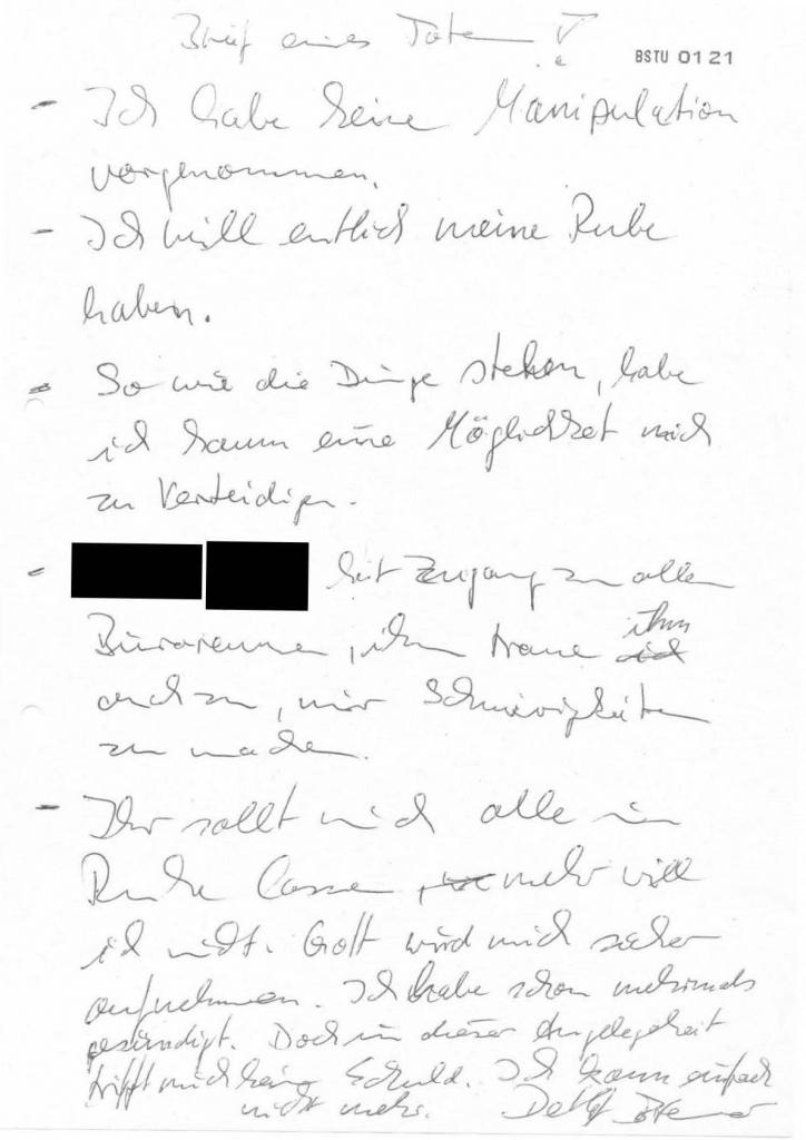 """Der Film """"Brief eines Toten"""" des sowjetischen Regisseurs Konstantin Lopuschanski kam 1987 in die Kinos. Möglicherweise bezog sich Detlef Bremer auf dieses endzeitliche Filmdrama, oder auf Hermann von Pückler-Muskaus """"Briefe eines Verstorbenen"""". Quelle: BStU"""