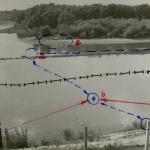 Das Bild zeigt den Fluchtverlauf von Richard Schlenz an der Mündung der Mur in die Donau.>